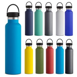 insulated drinking water bottle Canada - Vacuum Insulated Water Bottles Double Wall Stainless Steel Leak Sports Mug Cup Mouth Lid Flex Cap Cups For Drinking 350ml 1000ml WX9-1034