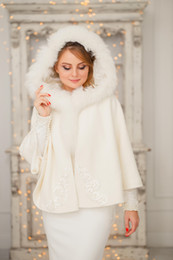 Discount prom wraps jacket shawl - Faux Fur Bridal Wraps Winter Warm Batwing Long Sleeve For Wedding Evening Prom Party Jackets Coats Ivory Shawl Shrugs Cl