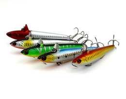 China PE001 100PCS Top Water Minnow Fishing Lures Swimbait 14.5G 9cm #6Hook Pike Pencil Fishing Wobblers suppliers