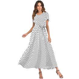 2d1bdce28cb0 2019 Casual Summer Dress XXXL 4XL 5XL Plus Size Women Long Polka Dot Dress  Short Sleeve High Waist Tie Vintage Beach Maxi Dress