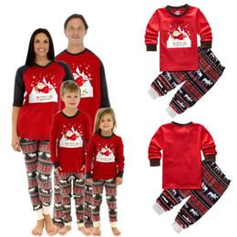 ce444d0576 2018 Xmas Moose Sleepwear Fairy Christmas Deer Elk Family Pajamas Set Adult  Kids Striped parent-child Nightwear Party Clothing Homewear best