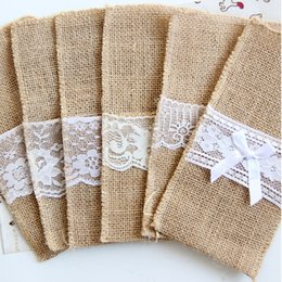 Cubiertos de arpillera Vintage Shabby Chic Jute encaje vajilla bolsa Embalaje Tenedor Cuchillo Bolsillo Textiles para el hogar