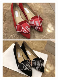 $enCountryForm.capitalKeyWord Australia - Flat Heels Dancing Shoes Letter Bowtie pointed toe Prom Single shoes sandals party dress wedding Black Red Slip-on Shoes