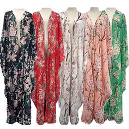 2018 Abaya Dubai Floral Print Peach Blossom Asymmetrical Ramadan Moroccan Kaftan Eid Mubarak Islamic Clothing from linen scarves muslim suppliers