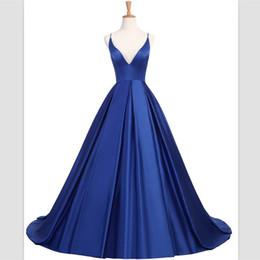 2ebec760bb0 2018 wangyandress Blue Satin Eine Linie Abendkleider Sexy Criss Cross  Straps V-Ausschnitt Lange Abschlussball-Kleider Benutzerdefinierte Sweep  Zug Party ...
