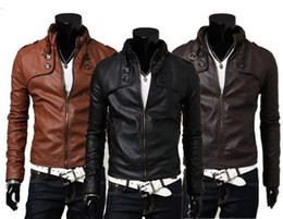 mens leather punk jackets NZ - Mens Winter Jackets New Fashion PU Leather Warm Coats Zipper Long Sleeve Biker Motorcycle Coat Jackets