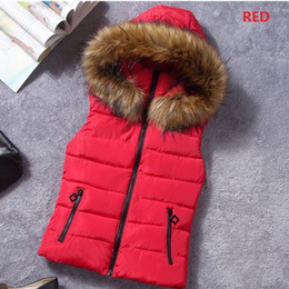 Wholesale ZOGAA Winter New Brand Women s Hooded Coat Cotton Padded Vest Fur Collar Hooded Winter Coat For Woman Outerwear Vest