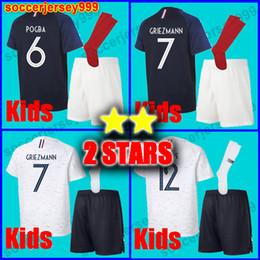 6cf09a52c3 2 duas estrelas France soccer jersey football shirt kids ki França futebol  jersey Crianças kit GRIEZMANN