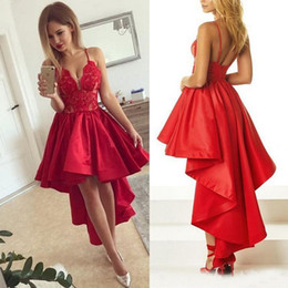 Red Dress V Neck Straps Australia - 2018 Hi-lo Red Cocktail Dresses Spaghetti Straps V-Neck Lace Applique Satin Short Front Long Back Prom Dresses Cheap robe de soiree