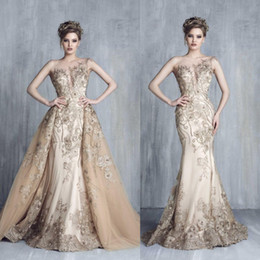 8bc59c1c32d64 Tony Chaaya 2018 Evening Dresses With Detachable Train Champagne Beads  Mermaid Prom Gowns Lace Embroidery Sleeveless Luxury Party Dress