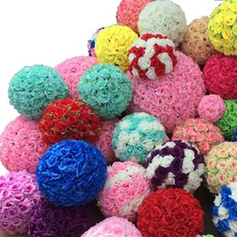 silk flowers wholesale kissing balls UK - Rose balls 6~24 Inch(15~60CM) Wedding silk Pomander Kissing Ball decorate flower artificial flower for wedding garden market decoration