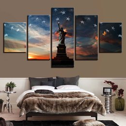 statue liberty wall art 2019 - Canvas Wall For Living Room Nordic Decoration New Art 5 Panel Statue Of Liberty National Flag Painting Modular Poster Pi