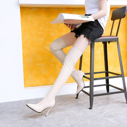 black soft thigh high boots NZ - Women sexy elastic boots soft leather pointed toe 11cm stiletto heel stovepipe over the knee thigh high booties 906-31