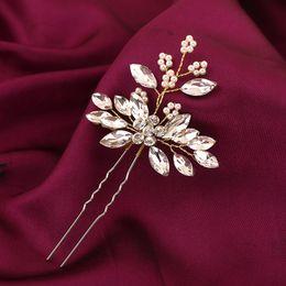 Flower Hair Clip Vintage Australia - Silver Crystal Flower Leaf U shape Hair Sticks Pearl Clip Vintage Pins Wedding Hair Accessories Rhinestone Bride Head Piece