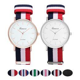 $enCountryForm.capitalKeyWord Australia - Fashion Canvas Strap Women Quartz Watch Luxury Men Nylon Buckle Watches Creative Geneva Dial Couple Sports Wristwatch relogio