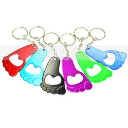 $enCountryForm.capitalKeyWord NZ - Small Foot Shape Beer Bottle Opener With Key Chain Corkscrew Wedding Gift Aluminum Originality Openers With Multi Color 0 75sb jj