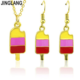 China JINGLANG New Small and pure and fresh Ice cream Pendant Necklace Earring Set Jewelry cheap ice cream necklace suppliers