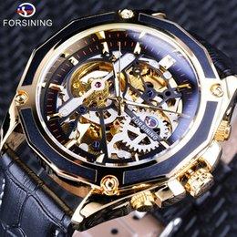 golds gear Canada - Forsining Transparent Steampunk Gear Movement Design Luxury Mechanical Watch Mens Sport Gold Fashion Skeleton Automatic Brand Watch For Mens