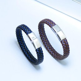 Baseball Buckles Canada - New fashion jewelry flat woven leather bracelet stainless steel magnet buckle leather bracelet manufacturers wholesale t128