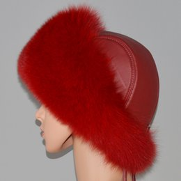 Hot Russian Winter Natural Fox Fur Hat DIY Warm Soft Fluffy Fox Fur Hats  Luxurious Women Good Quality Handmade Real Leather Caps 1f8126970ae5