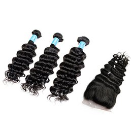 HigH quality Human Hair online shopping - Ais Hair Deep Wave Brazilian Virgin Human Hair Bundles with Closure Natural B Color Indian Peruvian Malaysian Hair High Quality