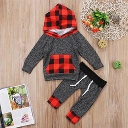Branded Baby Kids Clothes Australia - Brand New Newborn Baby Boy Girl Plaid Toddler Hooded Top+Pants 2-piece Set Outfits Red Black Kid Clothing Xmas gifts