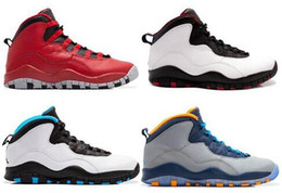 02fbf79e805eb3 New 10 10s mens basketball shoes Steel Grey white black Powder Blue Lady  Liberty Chicago GS Fusion Red Bobcats outdoor sneakers us 8-13