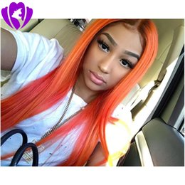 straight blonde wig roots Australia - Natural Long Silky Straight Ombre Orange Black Roots Synthetic Lace Front Wig for women Gueless Heat Resistant Soft Hair Wigs