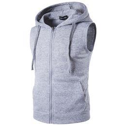 $enCountryForm.capitalKeyWord NZ - Men's fleece Men's Fashion Fleece Plain Fit Hooded Sleeveless Front Zipper Hoody Solid Vest hoodies