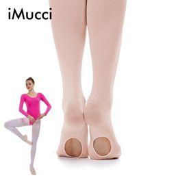 33ebc2149 iMucci Women Ballet Convertible Tights Girl Pink Velvet Leggings Adult  Pantyhose Dance Socks White Legging Gymnastics Collant