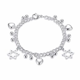 Assorted Chains Australia - New silver color Stainless Steel charms Bracelet for women Fashion Heart assorted chain link Bracelets & Bangle
