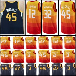 45 Donovan Mitchell 12 John Stockton 32 Karl Malone 2 Joe Ingles 3 Ricky  Rubio 27 Rudy Gobert Jersey 2018 New Men s Utah Jazz Jerseys d692551ed