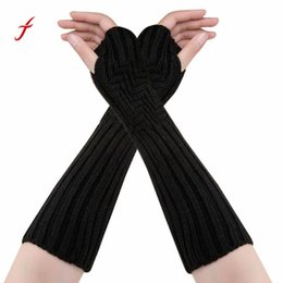 $enCountryForm.capitalKeyWord Australia - 2017 Winter Gloves striped long Gloves For Women ladies Fingerless Sarung tangan winter Knitted Warm Luva#W
