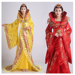 Wholesale ancient chinese clothes resale online - Women s stand collar the noble temperament trailing dress the queen of the tang dynasty clothing Chinese ancient costume hanfu Dress