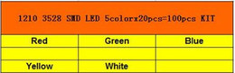 smd led pack Australia - 1210 3528 SMD LED 5colorx20pcs=100pcs White Blue Red Yellow Green Light Diode Kit Pack