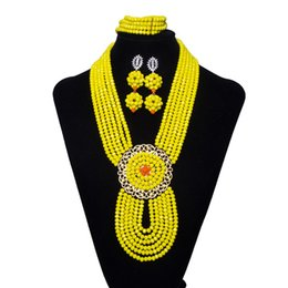 $enCountryForm.capitalKeyWord Australia - AMYNOVA 6 Strand Yellow Women Crystal Beads Beaded Necklace African Beads Jewelry Set Bridal Costume Nigerian Wedding Beads Crystal Necklace