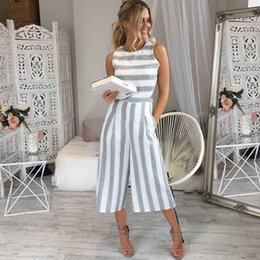 Elegant Jumpsuits Women Canada - HOT Jumpsuit Summer Women Sleeveless Striped Jumpsuit Casual Clubwear Wide Leg Elegant Pants Outfit combinai