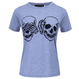 bfd61a0cf6e61 Hippie punk blue T-Shirts Skull printed women tops for Summer 2018 casual  funny shirts streetwear tops blusas feminino WS8004y