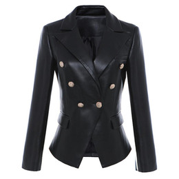 $enCountryForm.capitalKeyWord UK - Fashion brand metal buttons pu leather blazer 2018 spring new women 's Korean version double breast suit jacket wj2008
