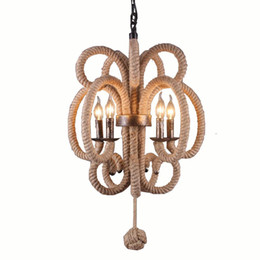 Rope light ceiling online shopping - American Industrial hemp rope Dining Room Chandelier Retro Northern Nordic Restaurant hanging Lamp Kitchen Chinese knot Ceiling Pendant Lamp