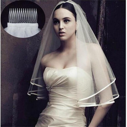 veil green NZ - 2019 Hot Sale White Bridal Veils Tulle Beaded Elbow Length One Layer Ribbon Edge Wedding Accessories Wraps Free Shipping