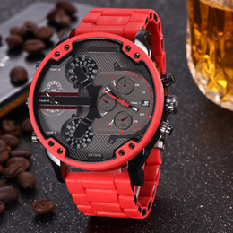 Wholesale Fashion Brand Men s Big Case Red steel Metal Silicone band Quartz wrist Watch full logo