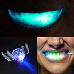 Discount halloween rave - LED Light up Flashing Mouth Piece Glow Teeth For Halloween Party Rave Event