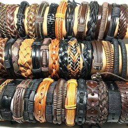 Wholesale Assorted Styles Black Brown Men s Women s Real Leather Surfer Handmade Cuff Bracelets Fashion Jewelry