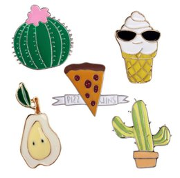 AfricAn AmericAn creAm online shopping - Cactus Potted Pears Pizza Ice Cream Small Size Hard Enamel Brooches Pins Cute Cartoon Lapel Pins For Clothes Backpack Jacket Shirt