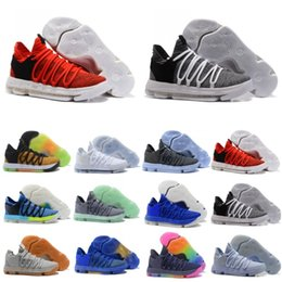 Chinese  Classic Zoom KD 10 Top mens Basketball Shoes Kevin Durant 10s Knitting vamp Anniversary University Red Grey Sport Sneakers manufacturers