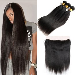 $enCountryForm.capitalKeyWord Australia - Peruvian Hair With Closure Virgin Straight Hair Bundles With 13*4 Lace Frontal 100% Unprocessed Virgin Brazilian Peruvian Human Hair Weaves