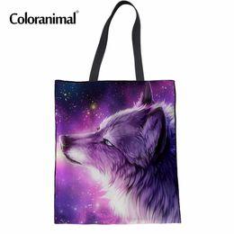 $enCountryForm.capitalKeyWord NZ - Coloranimal Foldable Women Casual Canvas Handbags Cool Purple Animal Wolf Print Woman's Cotton Shopper Totes Bag Woman Hand Bag