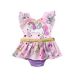 bad5bcc4eb0 Lovely Newborn Clothes Baby Girl Unicorn Romper Rainbow Ruffles Sleeve  Cartoon Animal Skirted Romper Jumpsuit Outfits Kids Princess Sunsuit