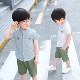 7494a2176 small boy suit style 2019 - Kids Boys summer cotton suit 2018 leisure small  linen shirt